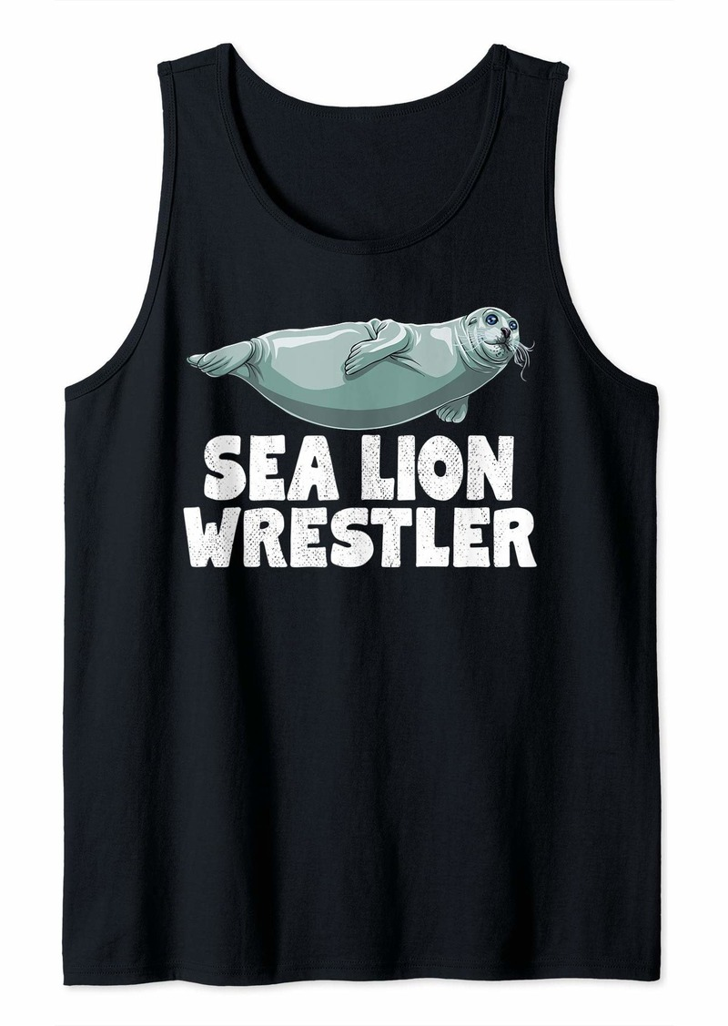 Sea Lion Wrestler Funny Ocean Animal Tank Top