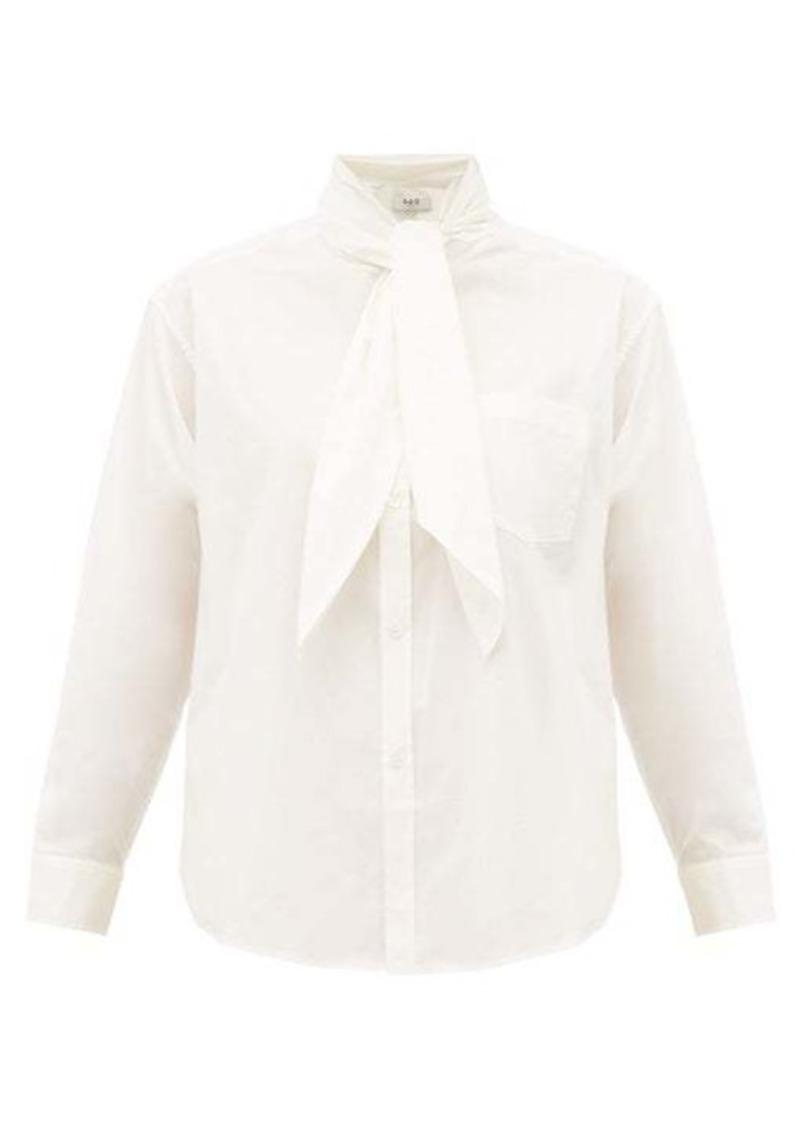 Sea Louise neck-tie cotton-blend poplin blouse