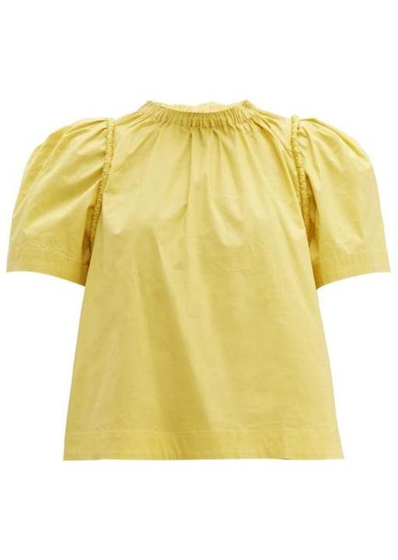 Sea Luna puff-sleeve cotton-poplin blouse