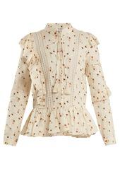 Sea sea margaux floral print ruffle trimmed cotton blouse abva79c4ef a