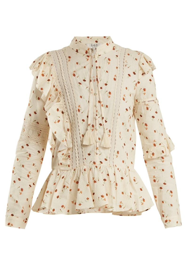 Sea Margaux floral-print ruffle-trimmed cotton blouse
