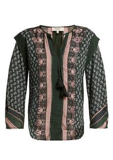 Sea Mia border-print cotton-blend blouse