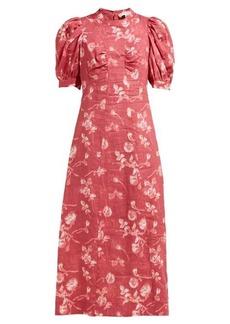 Sea Monet floral-print A-line ramie midi dress