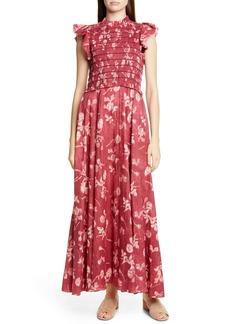 Sea Monet Floral Print Smocked Maxi Dress