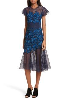Sea Mosaic Lace Midi Dress