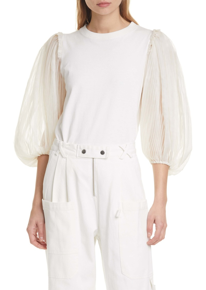 Sea Olive Puff Pleated Sleeve Top