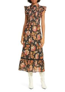 Sea Pascale Floral Smocked Cotton Midi Dress