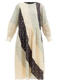 Sea Patchwork floral-print ramie dress