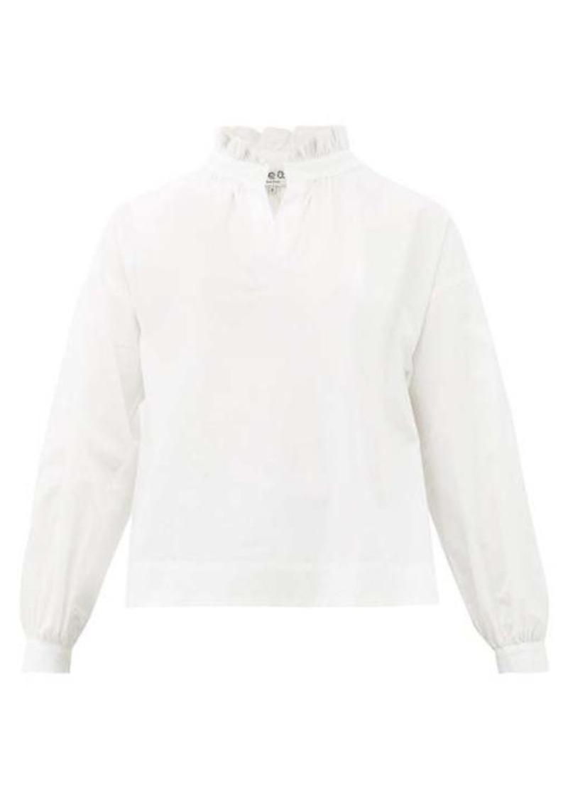 Sea Penny ruffled-neck cotton-blend blouse