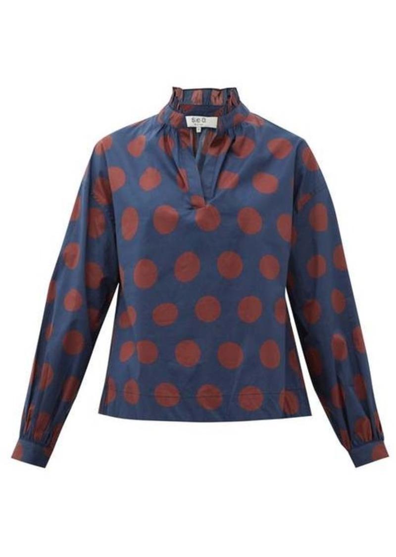 Sea Penny spot-print ruffled cotton-blend blouse