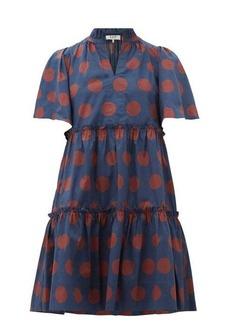Sea Penny spot-print tiered cotton-blend dress