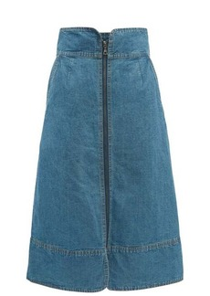 Sea Piper zipped denim midi skirt