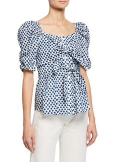 Sea Polka-Dot Button-Front Puff-Sleeve Knot Top