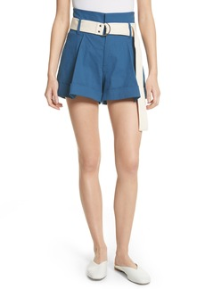 Sea Poppy Belted Cotton & Linen Blend Shorts