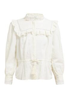 Sea Poppy pintucked linen-blend blouse