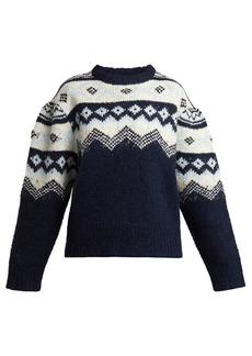 Sea Puffed-sleeve Fair Isle sweater