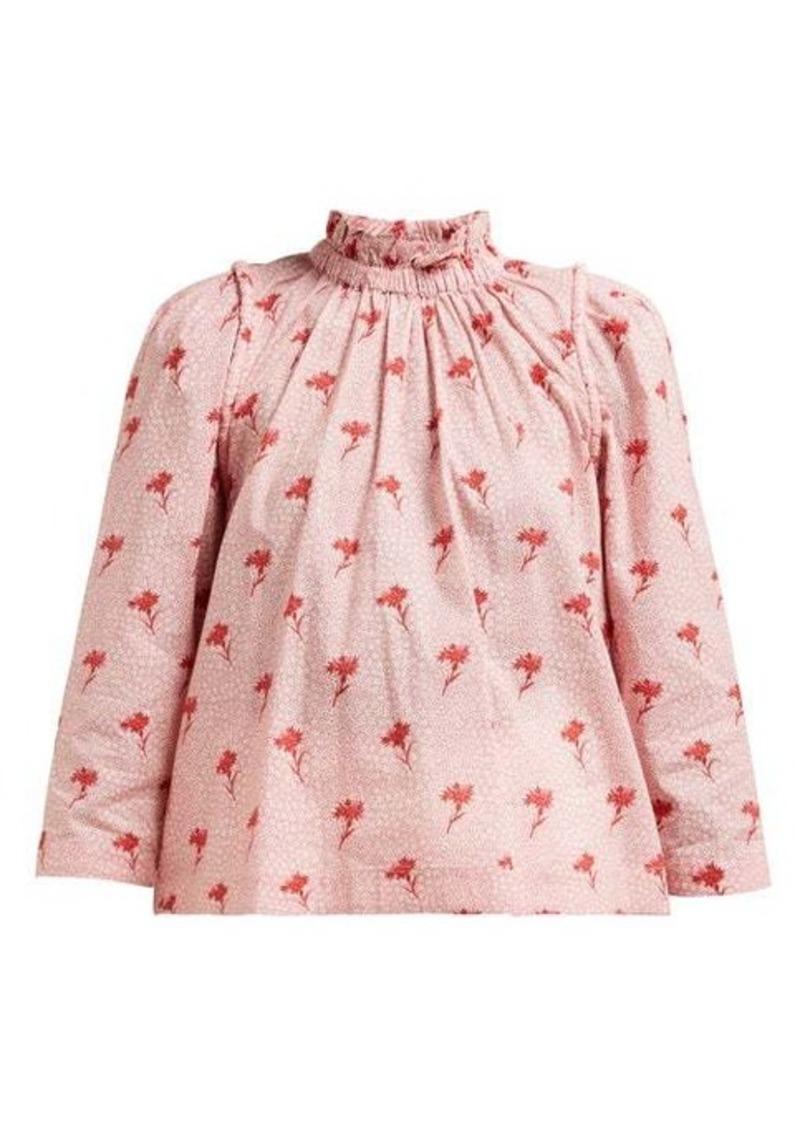 Sea Ruffled floral-print cotton blouse
