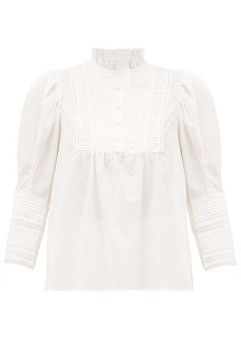 Sea Silvia pintuck pleated cotton-poplin blouse