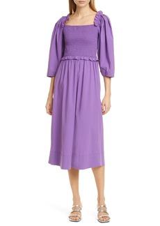 Sea Tabitha Ruffle Smocked Stretch Cotton Dress