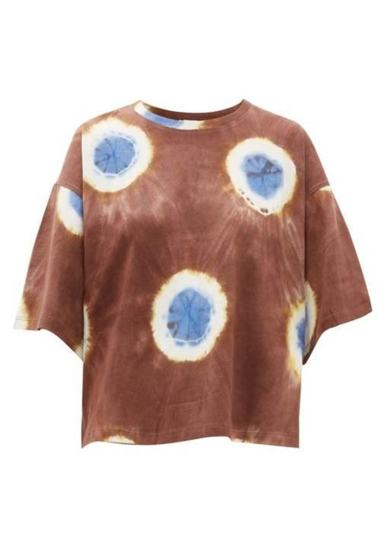 Sea Tie-dye cropped cotton-jersey T-shirt