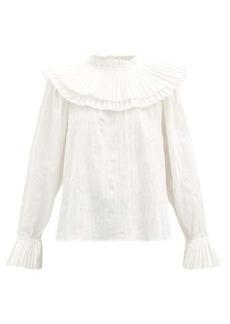 Sea Tivoli pleated-bib cotton-voile blouse