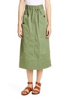 Sea Tula Stretch Cotton Midi Skirt