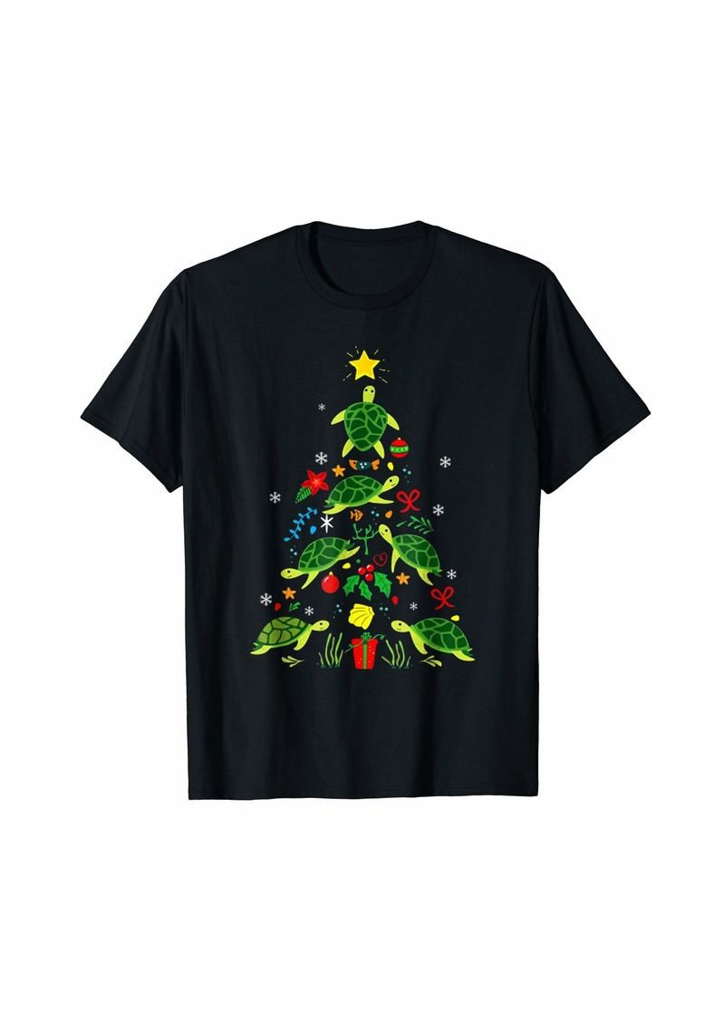 Sea Turtle Christmas Tree - Christmas Turtle Gift T-Shirt