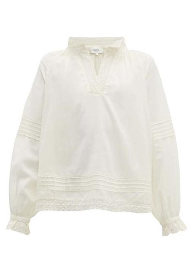 Sea Viola lace-insert cotton-blend blouse