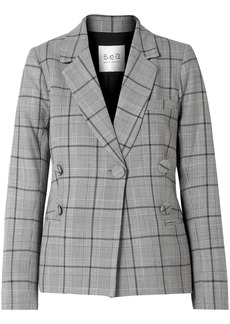 Sea Woman Bacall Button-embellished Prince Of Wales Checked Tweed Blazer Stone