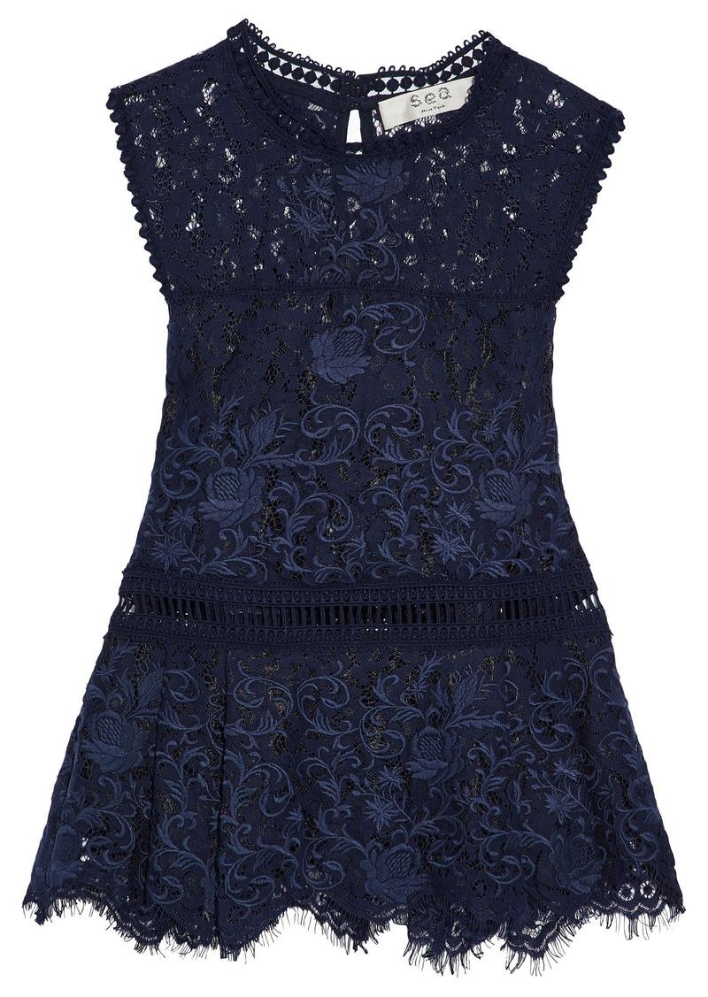 Sea Woman Cotton-blend Lace Peplum Top Navy