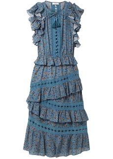 Sea Woman Crochet-trimmed Floral-print Cotton-blend Midi Dress Storm Blue