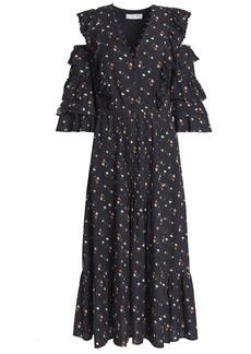 Sea Woman Cutout Floral-print Cotton-gauze Midi Dress Black