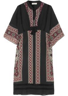 Sea Woman Ezri Crochet-trimmed Printed Silk Crepe De Chine Dress Black