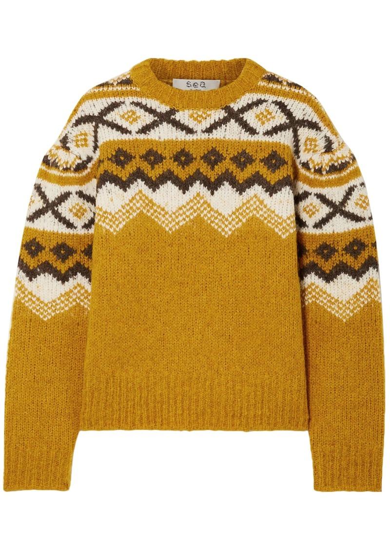 Sea Woman Fair Isle Intarsia-knit Sweater Mustard