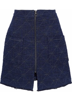 Sea Woman Frayed Quilted Cotton-blend Chambray Mini Skirt Indigo