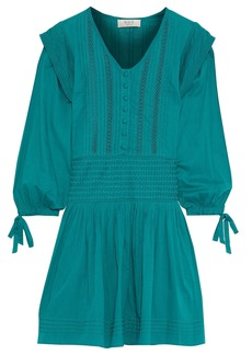 Sea Woman Hemingway Pintucked Cotton-voile Mini Dress Teal