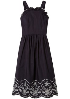Sea Woman Lace-up Broderie Anglaise Cotton Dress Navy