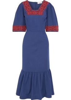 Sea Woman Leah Embroidered Cotton-canvas Midi Dress Blue