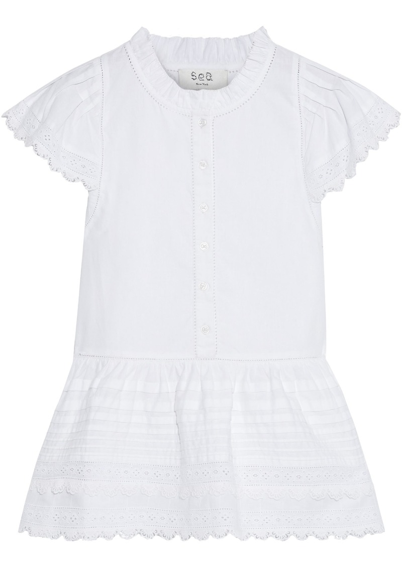 Sea Woman Lilli Pintucked Broderie Anglaise Cotton Peplum Blouse White