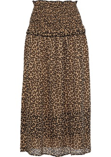 Sea Woman Lottie Ruffle-trimmed Leopard-print Georgette Midi Skirt Animal Print