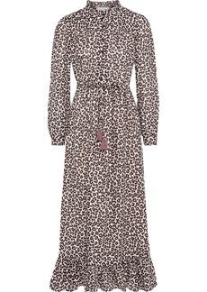 Sea Woman Lottie Ruffle-trimmed Leopard-print Ramie Midi Dress Animal Print