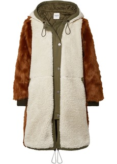 Sea Woman Madeline Canvas-trimmed Faux Fur And Shearling Hooded Parka Ecru