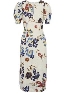 Sea Woman Margherite Floral-print Cotton-canvas Midi Dress Cream