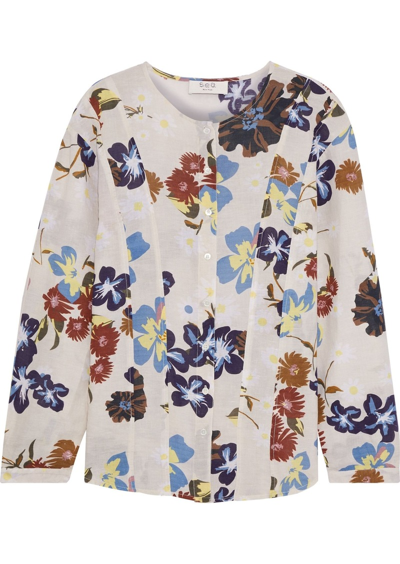 Sea Woman Margherite Floral-print Cotton-gauze Top Cream