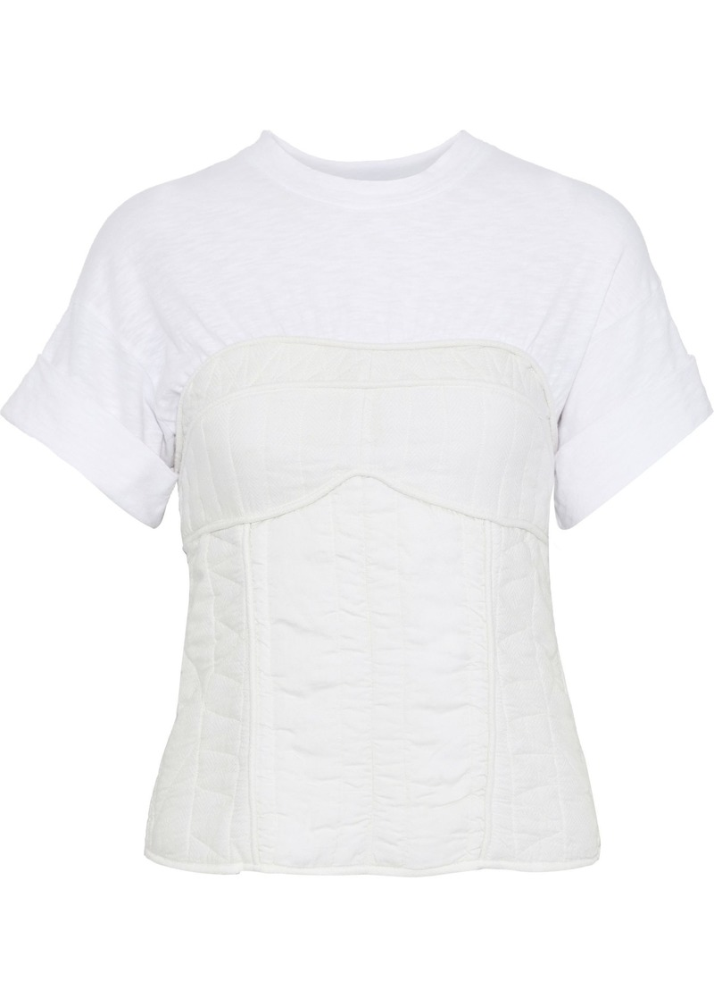 Sea Woman O'keefe Slub Jersey And Quilted Twill T-shirt Off-white