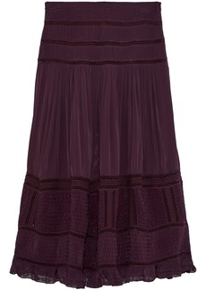 Sea Woman Poppy Pleated Crepe De Chine Midi Skirt Plum