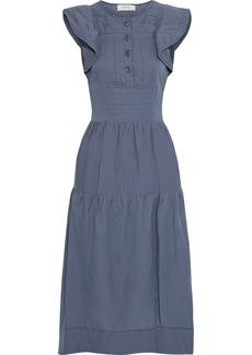 Sea Woman Romy Quilted Cotton-poplin Midi Dress Blue