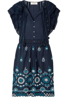Sea Woman Sofie Pintucked Broderie Anglaise Cotton Mini Dress Navy