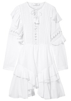 Sea Woman Weatherly Crochet-trimmed Ruffled Cotton-blend Mini Dress White