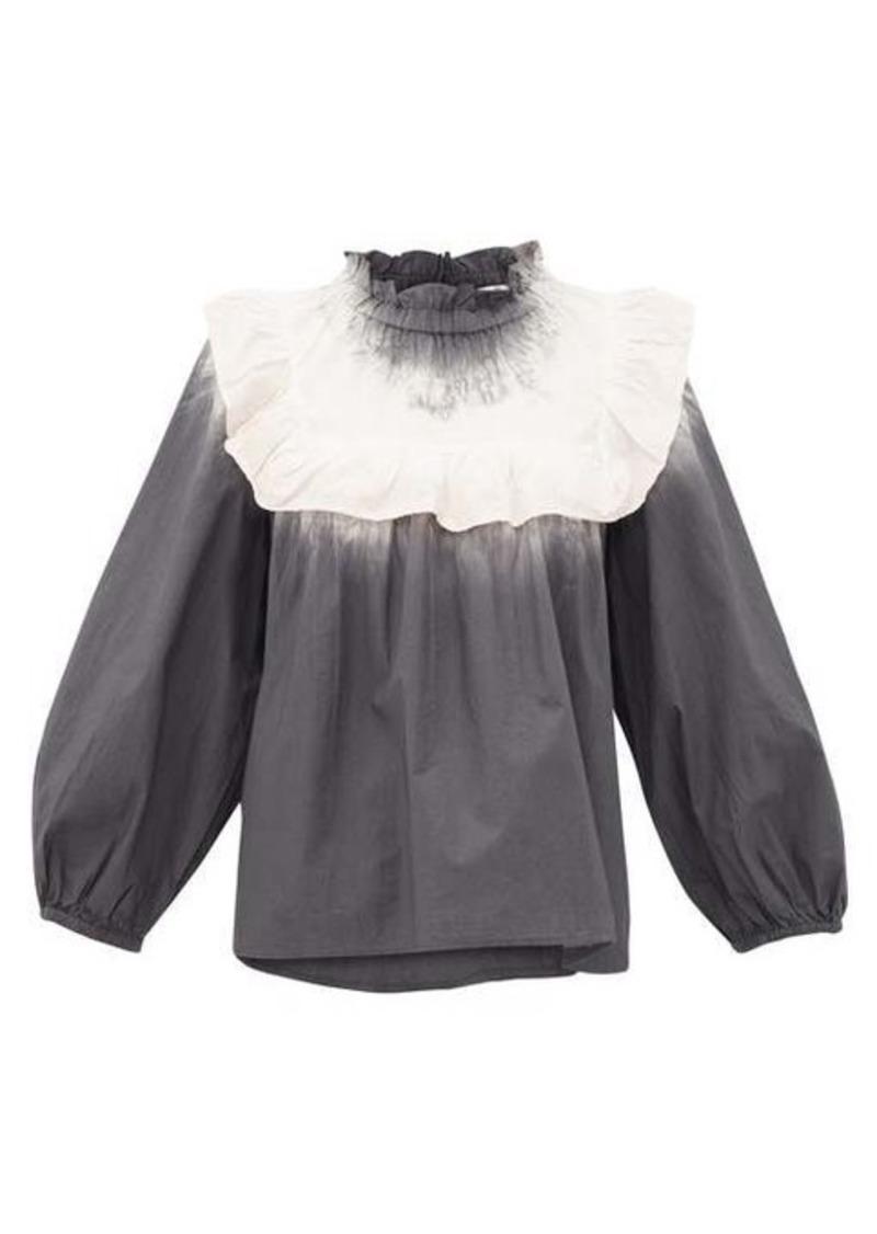 Sea Zelda tie-dye frilled-bib cotton-poplin blouse